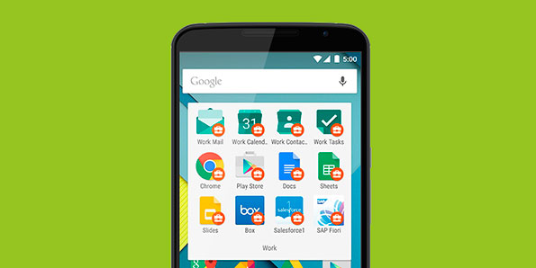 Screenshot of an Android phone displaying the Work profile