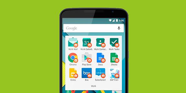 仕事用プロファイルが表示された Android スマートフォンのスクリーンショット