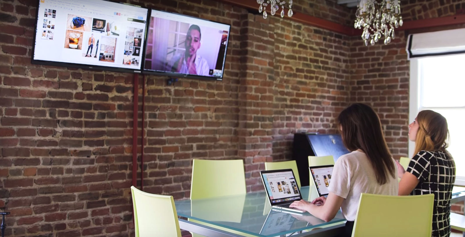 Grow Marketing employees walks Gabrey Means, Co-founder and Creative Director through a venue via Google Hangouts