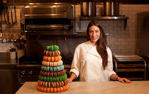 Dana Loia, CEO, Dana's Bakery with macaroon cake tower
